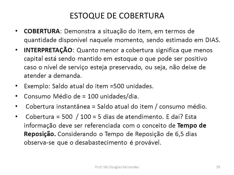 ESTOQUE DE COBERTURA COBERTURA: Demonstra a situação do item, em termos de quantidade disponível naquele momento, sendo estimado em DIAS.