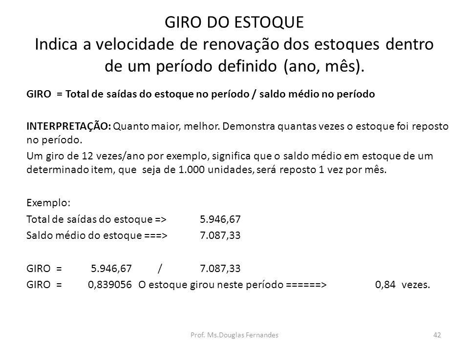 GIRO DO ESTOQUE Indica a velocidade de renovação dos estoques dentro de um período definido (ano, mês).