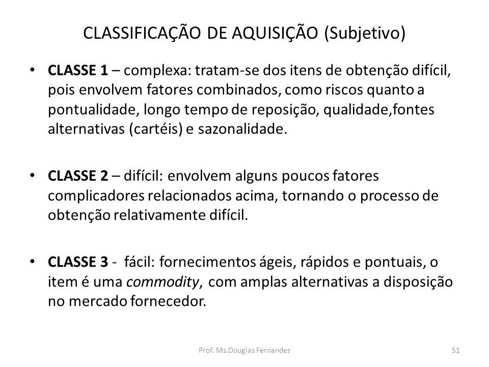 CLASSIFICAÇÃO DE AQUISIÇÃO (Subjetivo) CLASSE 1 – complexa: tratam-se dos itens de obtenção difícil, pois envolvem fatores combinados, como riscos quanto a pontualidade, longo tempo de reposição, qualidade,fontes alternativas (cartéis) e sazonalidade.