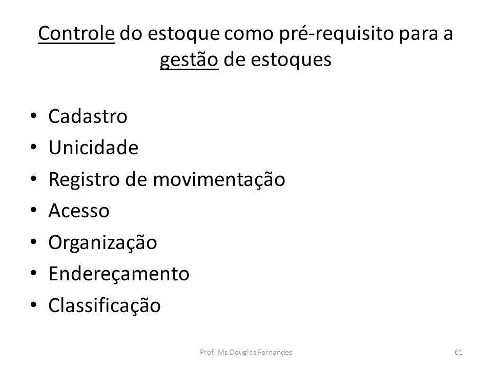 Controle do estoque como pré-requisito para a gestão de estoques Cadastro Unicidade Registro de movimentação Acesso Organização Endereçamento Classificação 61Prof.