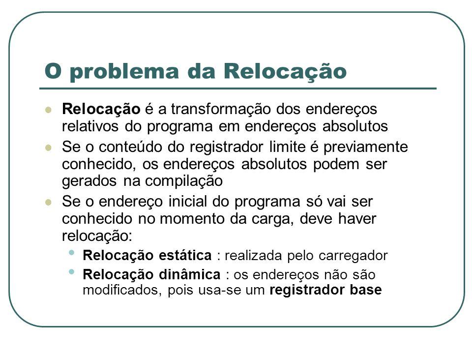 O problema da Relocação Relocação é a transformação dos endereços relativos do programa em endereços absolutos Se o conteúdo do registrador limite é p