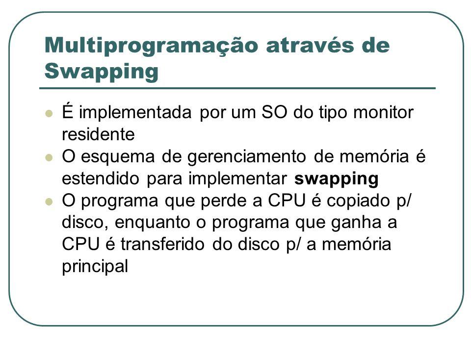Multiprogramação através de Swapping É implementada por um SO do tipo monitor residente O esquema de gerenciamento de memória é estendido para impleme