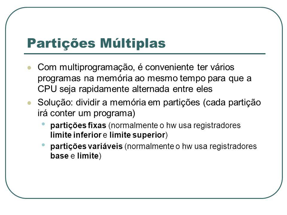 Partições Múltiplas Com multiprogramação, é conveniente ter vários programas na memória ao mesmo tempo para que a CPU seja rapidamente alternada entre