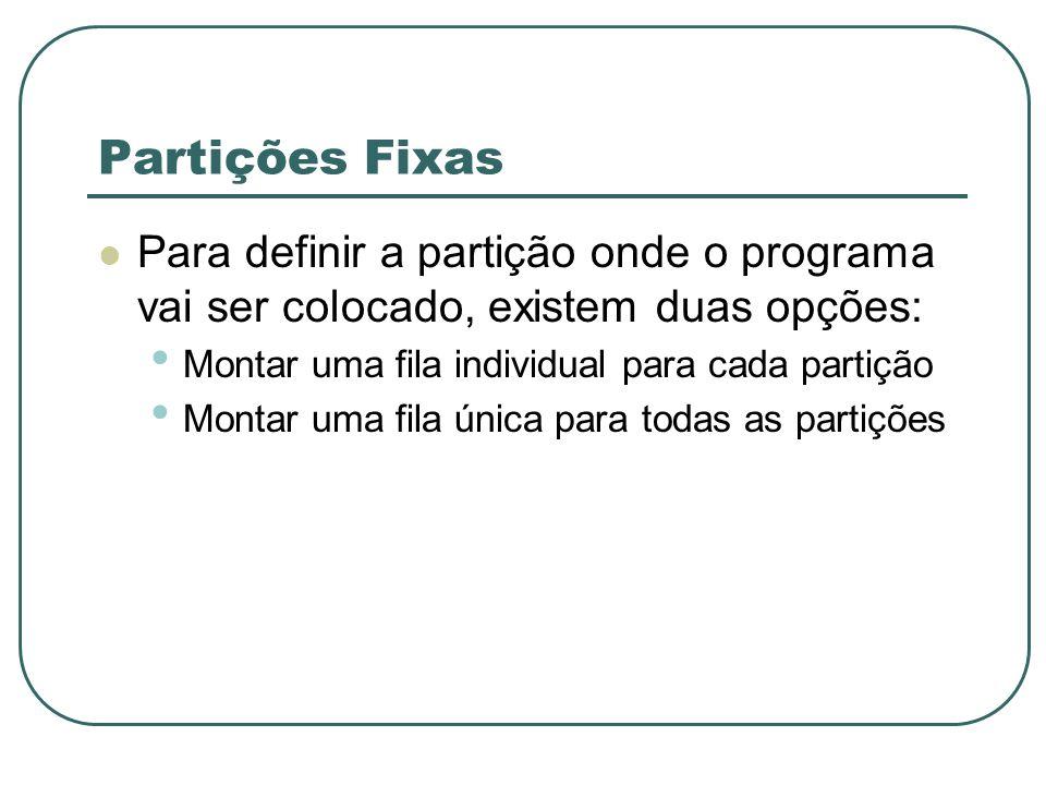 Partições Fixas Para definir a partição onde o programa vai ser colocado, existem duas opções: Montar uma fila individual para cada partição Montar um