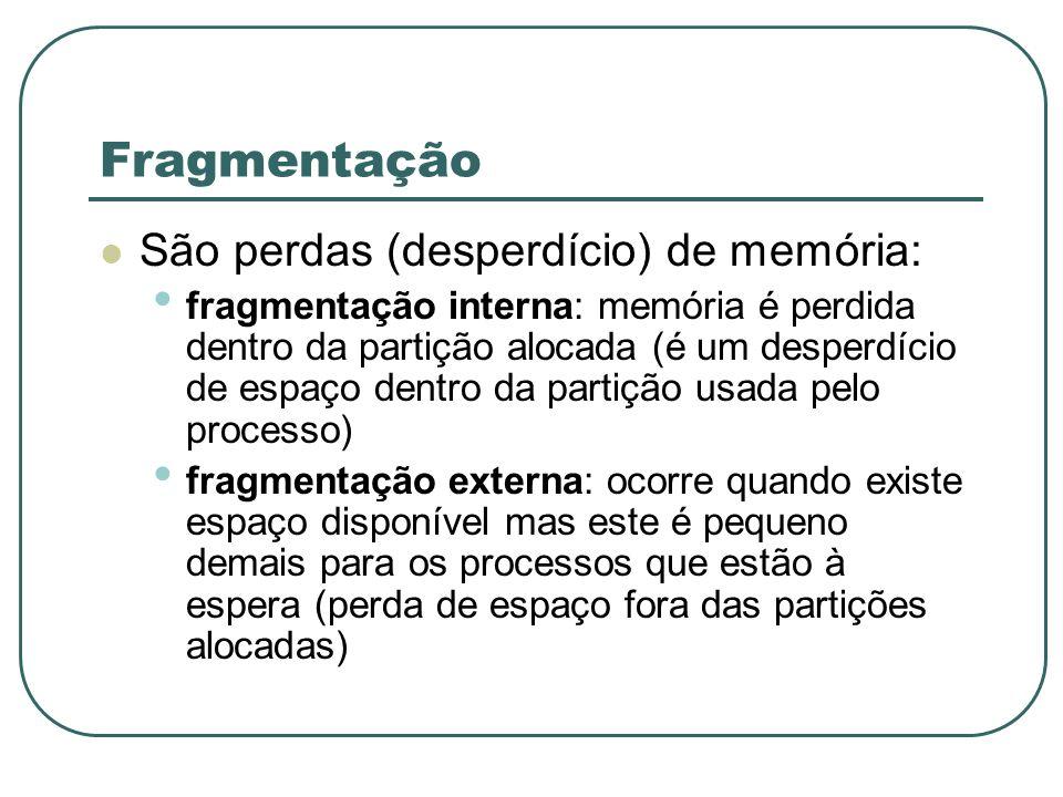 Fragmentação São perdas (desperdício) de memória: fragmentação interna: memória é perdida dentro da partição alocada (é um desperdício de espaço dentr