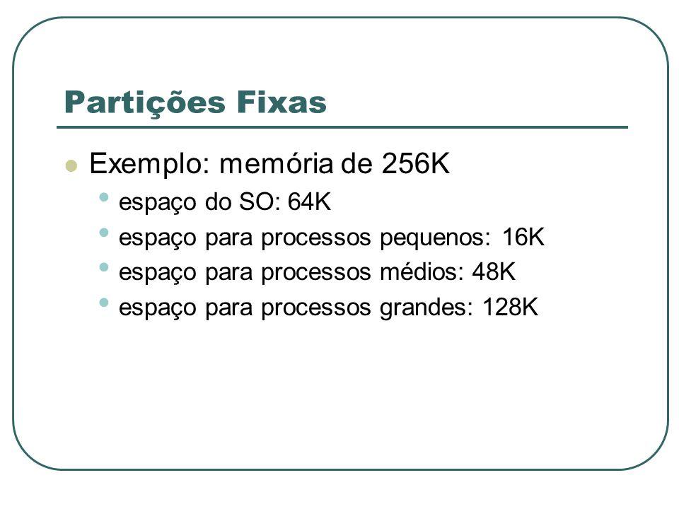 Partições Fixas Exemplo: memória de 256K espaço do SO: 64K espaço para processos pequenos: 16K espaço para processos médios: 48K espaço para processos