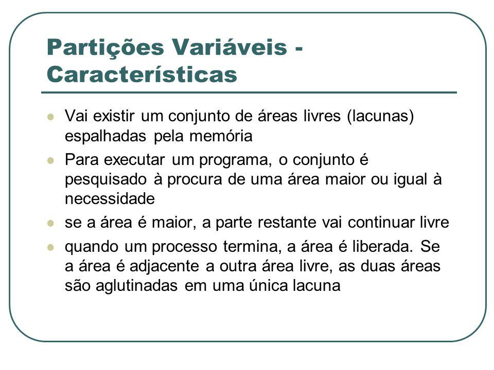 Partições Variáveis - Características Vai existir um conjunto de áreas livres (lacunas) espalhadas pela memória Para executar um programa, o conjunto