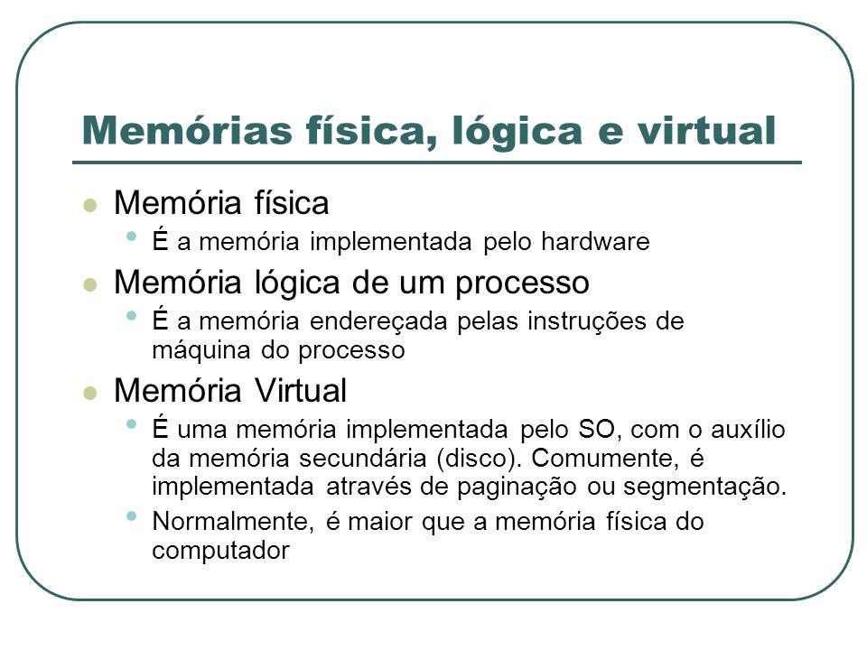 Memórias física, lógica e virtual Memória física É a memória implementada pelo hardware Memória lógica de um processo É a memória endereçada pelas ins
