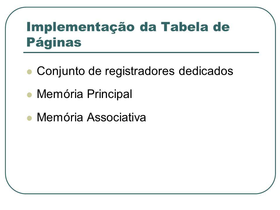 Implementação da Tabela de Páginas Conjunto de registradores dedicados Memória Principal Memória Associativa