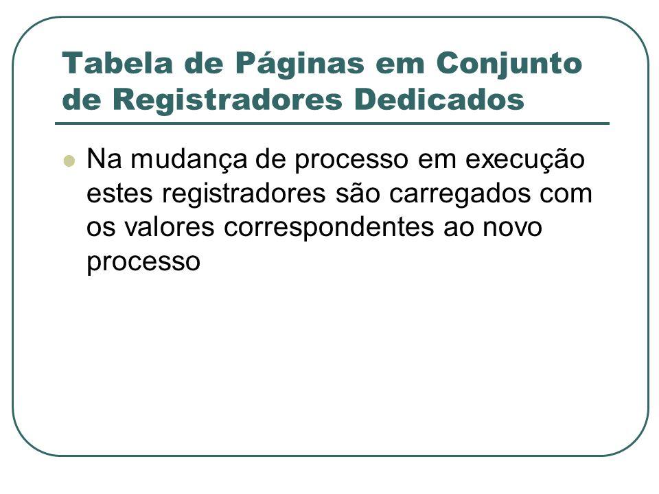 Tabela de Páginas em Conjunto de Registradores Dedicados Na mudança de processo em execução estes registradores são carregados com os valores correspo