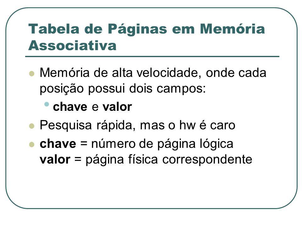 Tabela de Páginas em Memória Associativa Memória de alta velocidade, onde cada posição possui dois campos: chave e valor Pesquisa rápida, mas o hw é c