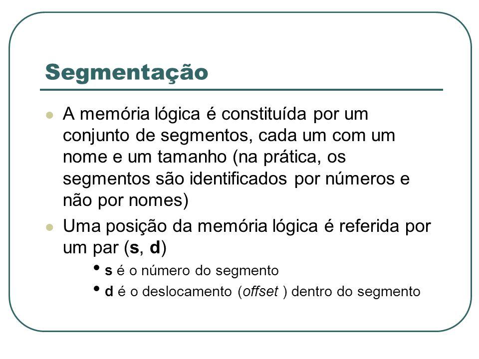 Segmentação A memória lógica é constituída por um conjunto de segmentos, cada um com um nome e um tamanho (na prática, os segmentos são identificados