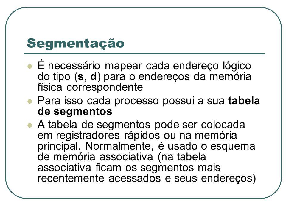Segmentação É necessário mapear cada endereço lógico do tipo (s, d) para o endereços da memória física correspondente Para isso cada processo possui a