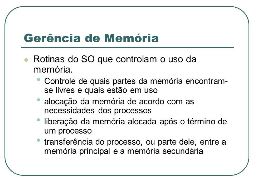 Gerência de Memória Rotinas do SO que controlam o uso da memória. Controle de quais partes da memória encontram- se livres e quais estão em uso alocaç