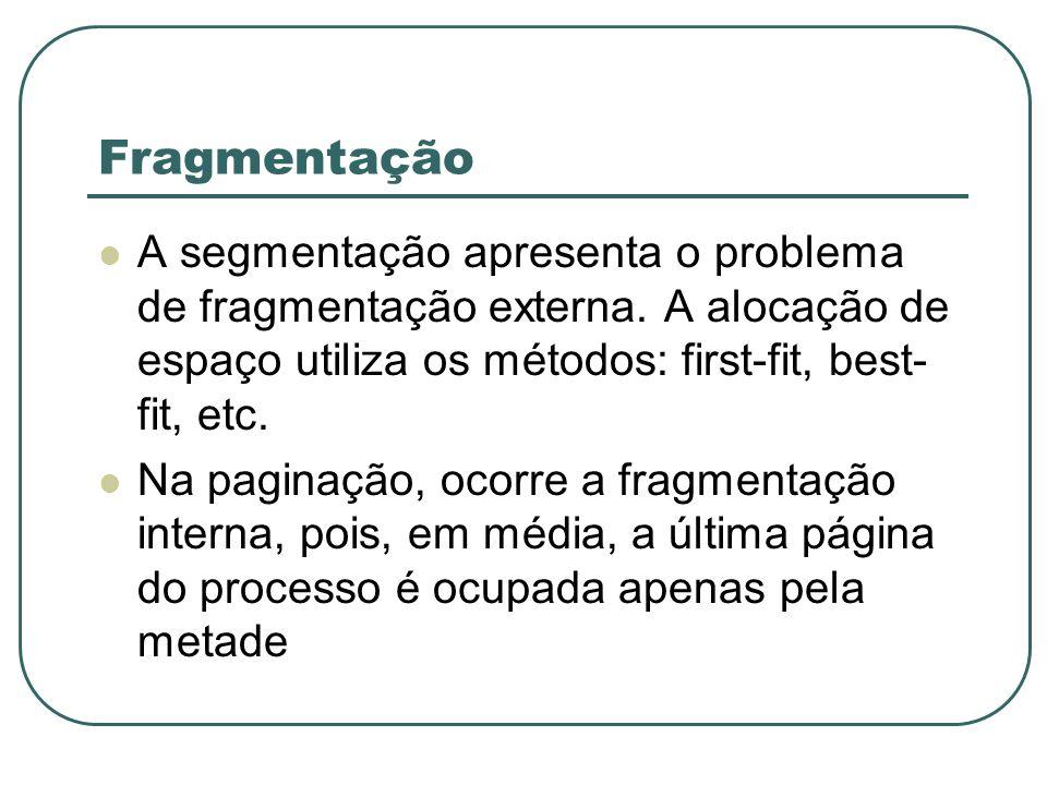 Fragmentação A segmentação apresenta o problema de fragmentação externa. A alocação de espaço utiliza os métodos: first-fit, best- fit, etc. Na pagina