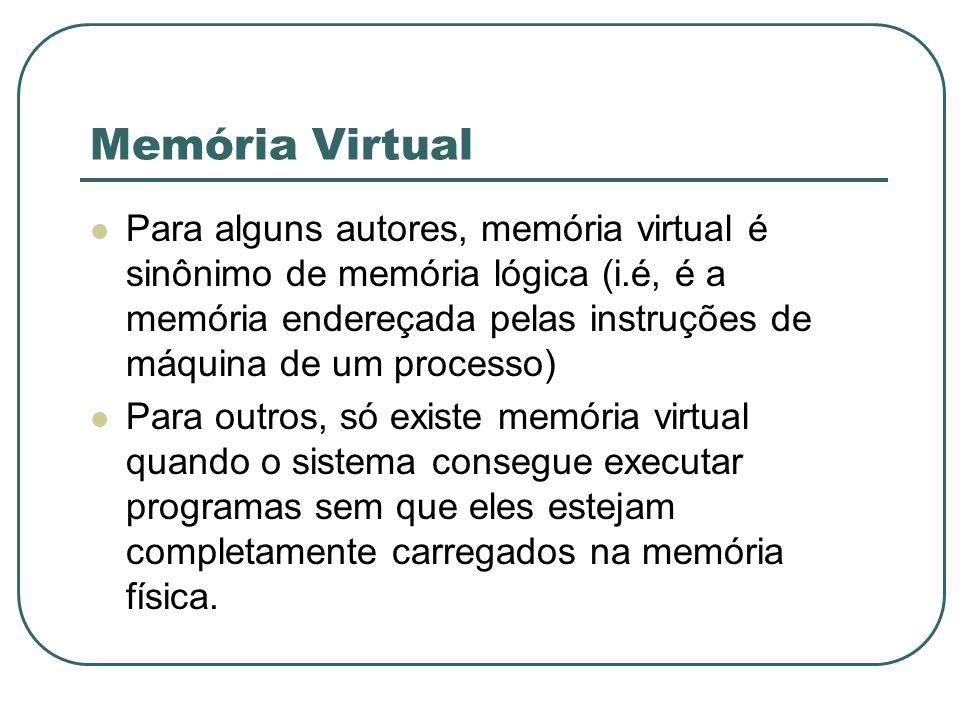 Memória Virtual Para alguns autores, memória virtual é sinônimo de memória lógica (i.é, é a memória endereçada pelas instruções de máquina de um proce