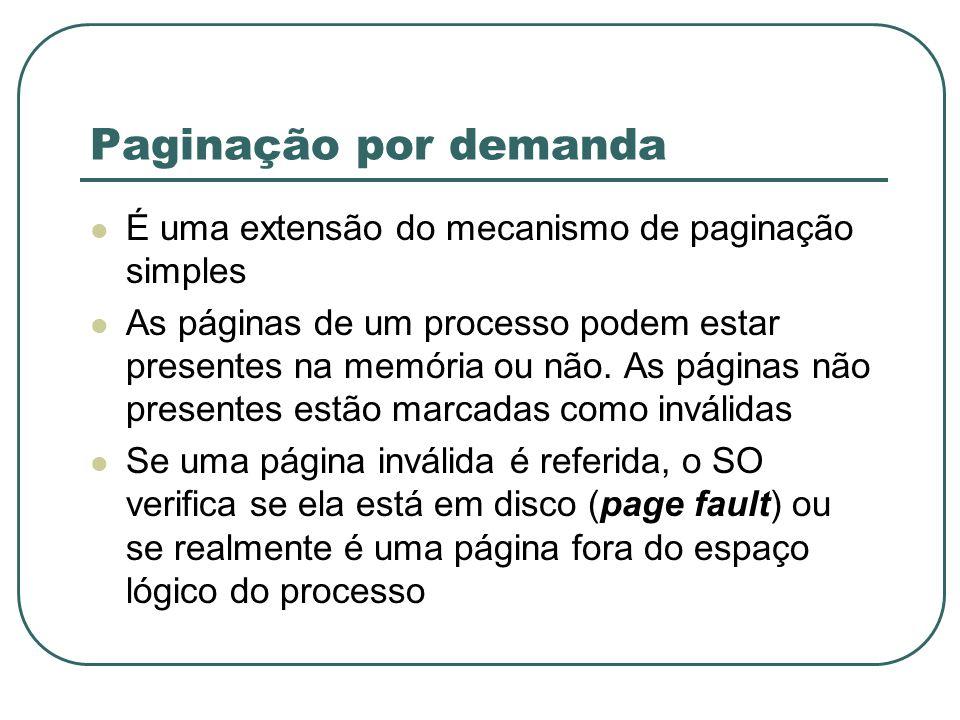 Paginação por demanda É uma extensão do mecanismo de paginação simples As páginas de um processo podem estar presentes na memória ou não. As páginas n