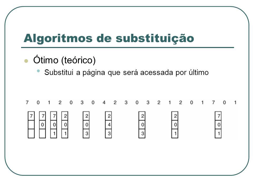 Algoritmos de substituição Ótimo (teórico) Substitui a página que será acessada por último