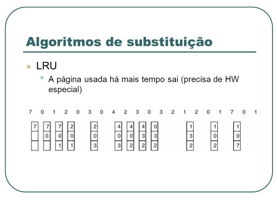 Algoritmos de substituição LRU A página usada há mais tempo sai (precisa de HW especial)