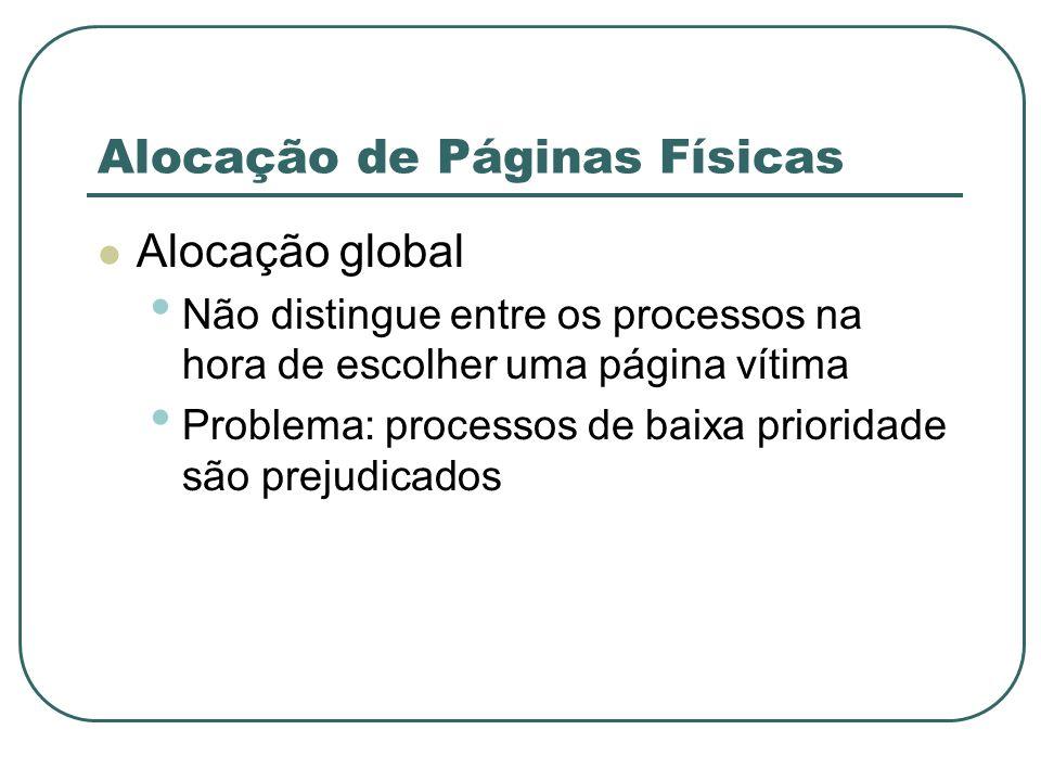 Alocação de Páginas Físicas Alocação global Não distingue entre os processos na hora de escolher uma página vítima Problema: processos de baixa priori