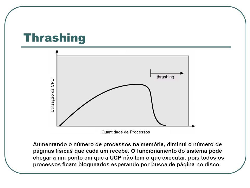 Thrashing Aumentando o número de processos na memória, diminui o número de páginas físicas que cada um recebe. O funcionamento do sistema pode chegar