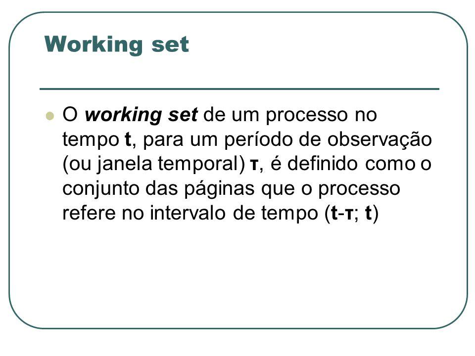 Working set O working set de um processo no tempo t, para um período de observação (ou janela temporal) τ, é definido como o conjunto das páginas que