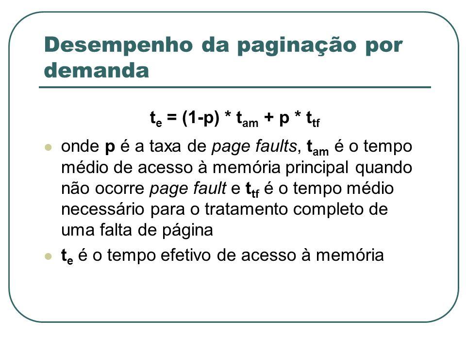 Desempenho da paginação por demanda t e = (1-p) * t am + p * t tf onde p é a taxa de page faults, t am é o tempo médio de acesso à memória principal q
