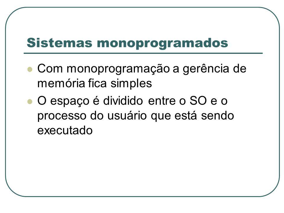 Sistemas monoprogramados Com monoprogramação a gerência de memória fica simples O espaço é dividido entre o SO e o processo do usuário que está sendo