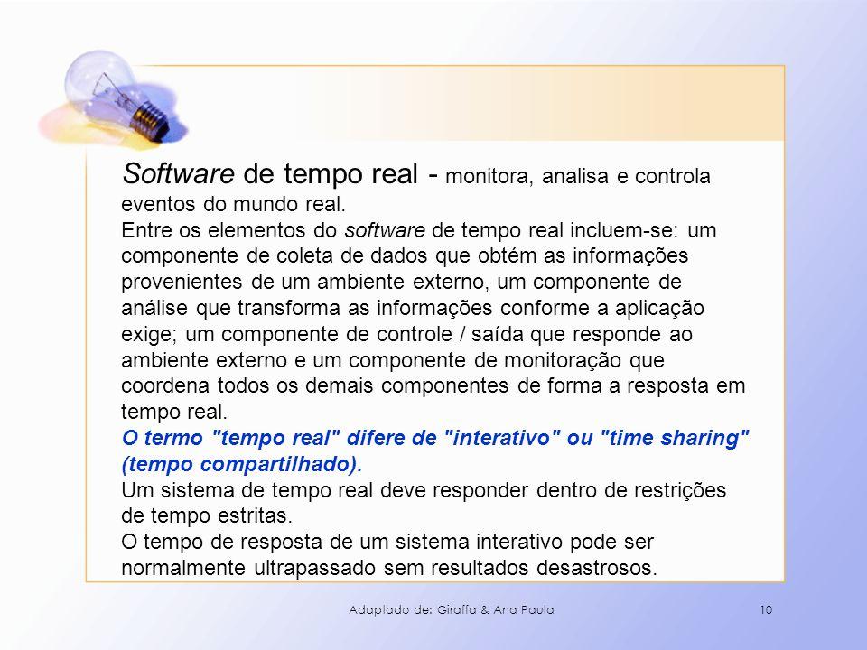 10 Software de tempo real - monitora, analisa e controla eventos do mundo real. Entre os elementos do software de tempo real incluem-se: um componente