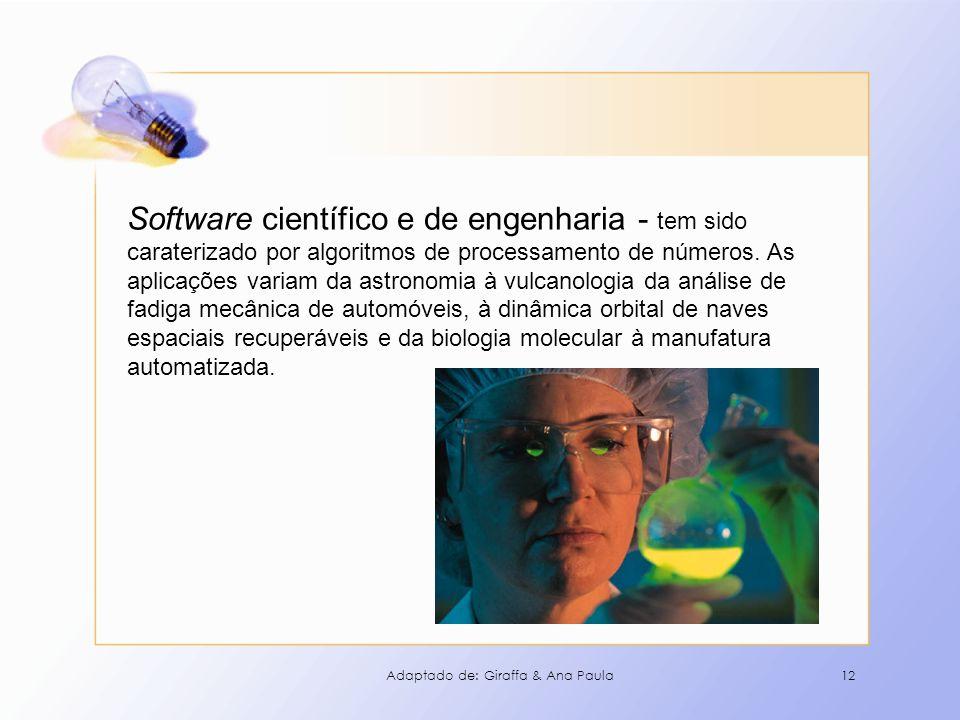 12 Software científico e de engenharia - tem sido caraterizado por algoritmos de processamento de números. As aplicações variam da astronomia à vulcan