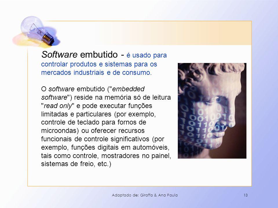 13 Software embutido - é usado para controlar produtos e sistemas para os mercados industriais e de consumo. O software embutido (