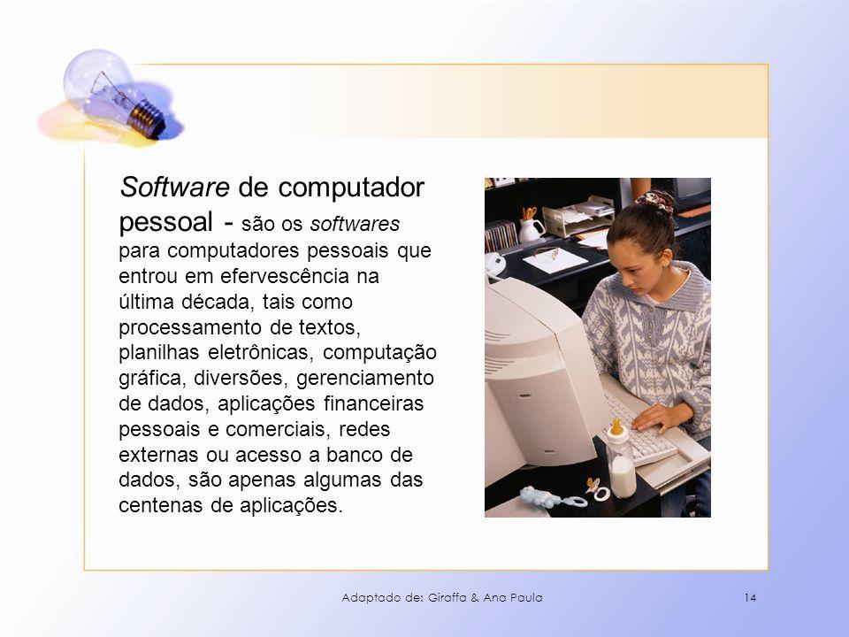 14 Software de computador pessoal - são os softwares para computadores pessoais que entrou em efervescência na última década, tais como processamento