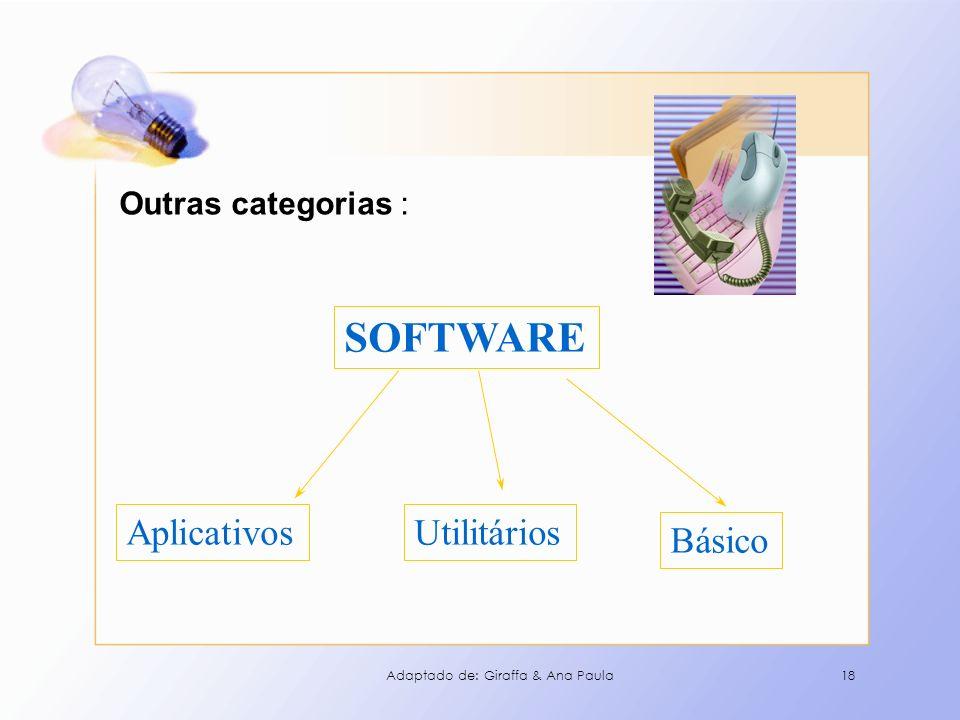 18 Outras categorias : SOFTWARE Básico AplicativosUtilitários Adaptado de: Giraffa & Ana Paula