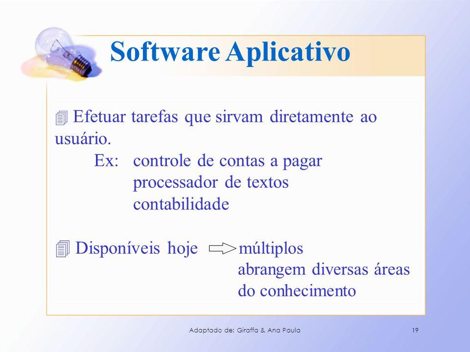 Software Aplicativo 4 Efetuar tarefas que sirvam diretamente ao usuário. Ex: controle de contas a pagar processador de textos contabilidade 4 Disponív