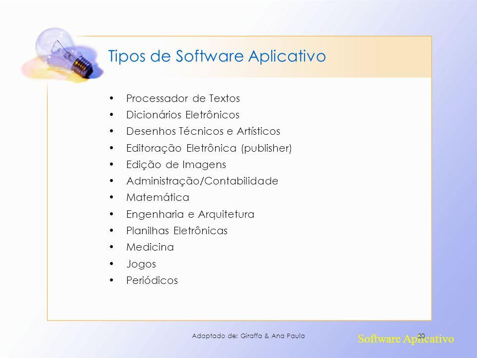 Software Aplicativo Tipos de Software Aplicativo Processador de Textos Dicionários Eletrônicos Desenhos Técnicos e Artísticos Editoração Eletrônica (p