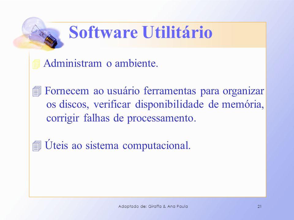 Software Utilitário 4 Administram o ambiente. 4 Fornecem ao usuário ferramentas para organizar os discos, verificar disponibilidade de memória, corrig