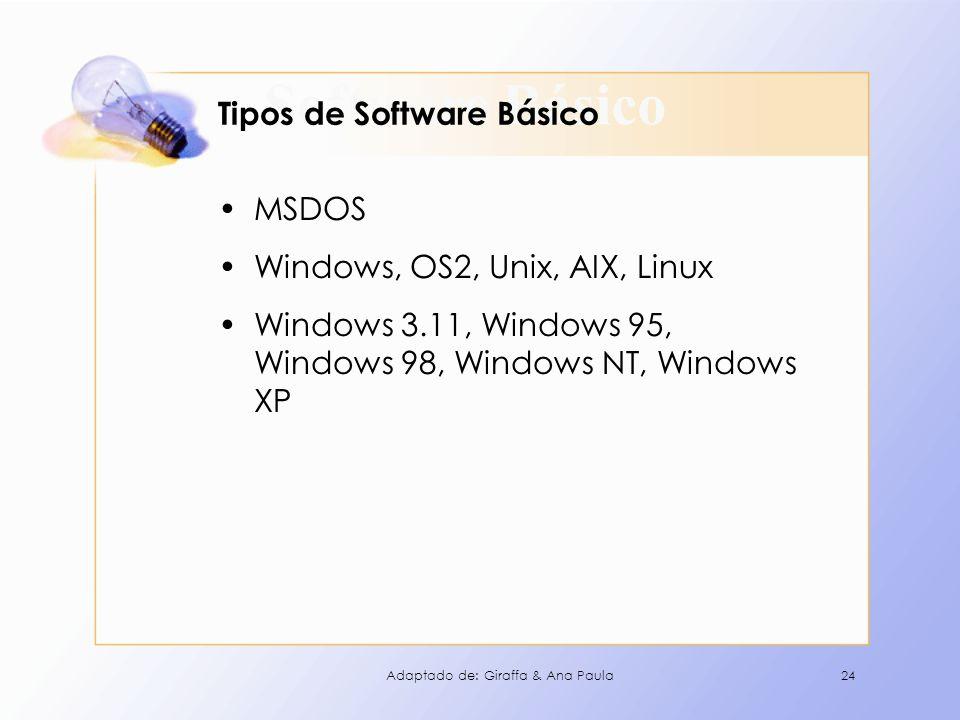 Software Básico Tipos de Software Básico MSDOS Windows, OS2, Unix, AIX, Linux Windows 3.11, Windows 95, Windows 98, Windows NT, Windows XP 24Adaptado