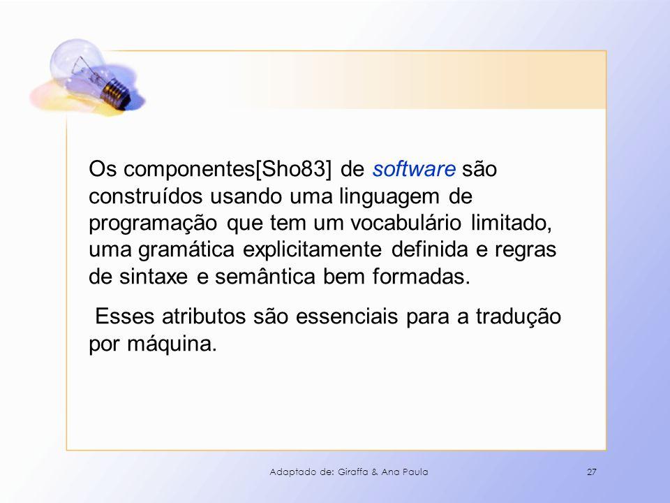27 Os componentes[Sho83] de software são construídos usando uma linguagem de programação que tem um vocabulário limitado, uma gramática explicitamente
