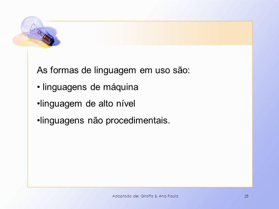 28 As formas de linguagem em uso são: linguagens de máquina linguagem de alto nível linguagens não procedimentais. Adaptado de: Giraffa & Ana Paula