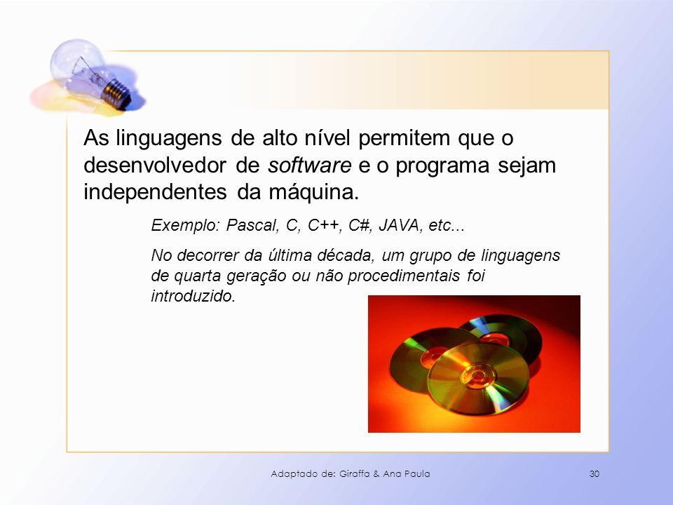 30 As linguagens de alto nível permitem que o desenvolvedor de software e o programa sejam independentes da máquina. Exemplo: Pascal, C, C++, C#, JAVA