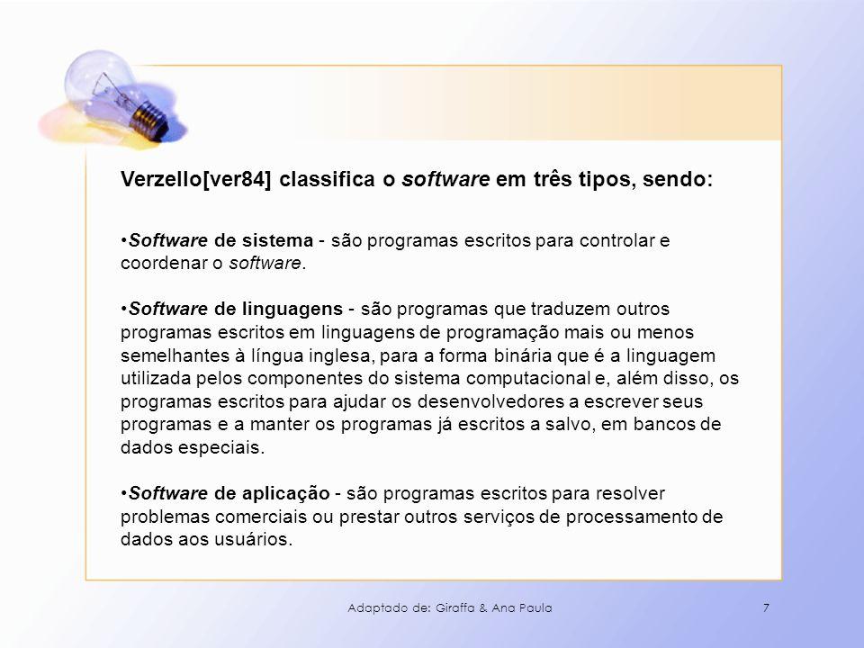 7 Verzello[ver84] classifica o software em três tipos, sendo: Software de sistema - são programas escritos para controlar e coordenar o software. Soft