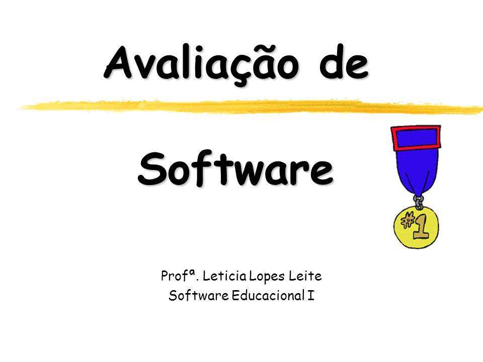 Avaliação de Software Profª. Leticia Lopes Leite Software Educacional I