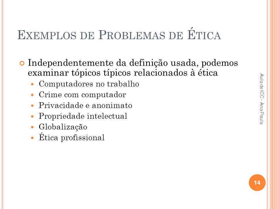 E XEMPLOS DE P ROBLEMAS DE É TICA Independentemente da definição usada, podemos examinar tópicos típicos relacionados à ética Computadores no trabalho Crime com computador Privacidade e anonimato Propriedade intelectual Globalização Ética profissional 14 Aula de ICC - Ana Paula