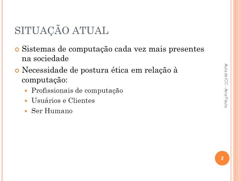 SITUAÇÃO ATUAL Sistemas de computação cada vez mais presentes na sociedade Necessidade de postura ética em relação à computação: Profissionais de computação Usuários e Clientes Ser Humano 2 Aula de ICC - Ana Paula