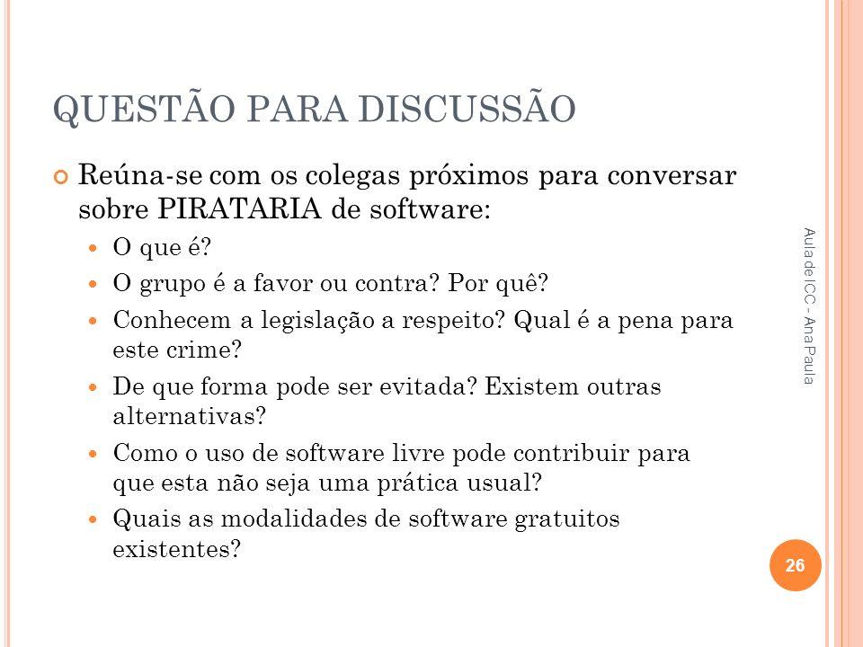 QUESTÃO PARA DISCUSSÃO Reúna-se com os colegas próximos para conversar sobre PIRATARIA de software: O que é.
