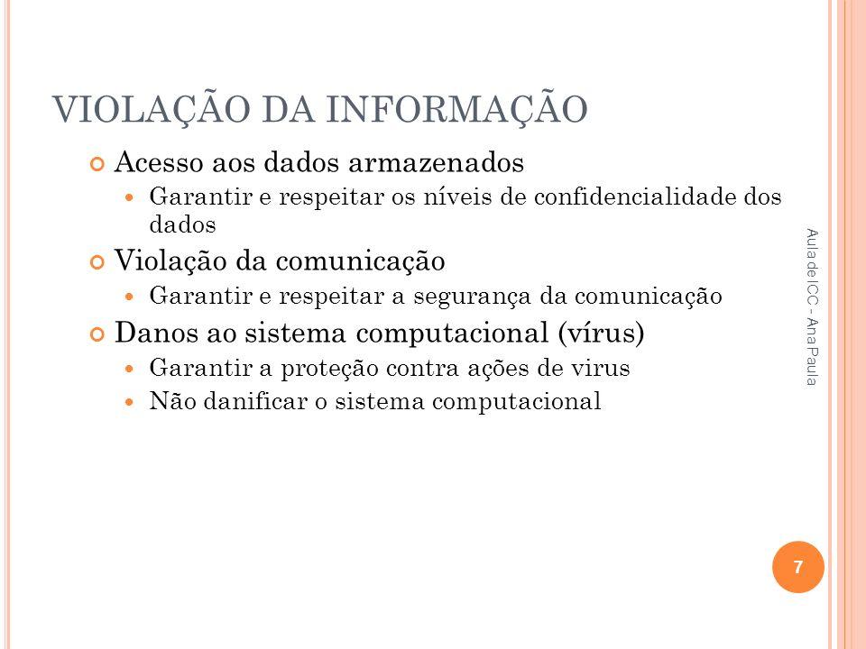 VIOLAÇÃO DA INFORMAÇÃO Acesso aos dados armazenados Garantir e respeitar os níveis de confidencialidade dos dados Violação da comunicação Garantir e respeitar a segurança da comunicação Danos ao sistema computacional (vírus) Garantir a proteção contra ações de virus Não danificar o sistema computacional 7 Aula de ICC - Ana Paula