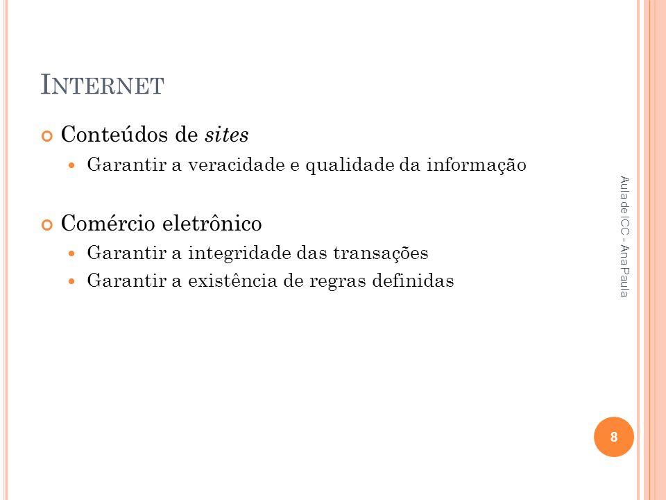 I NTERNET Conteúdos de sites Garantir a veracidade e qualidade da informação Comércio eletrônico Garantir a integridade das transações Garantir a existência de regras definidas 8 Aula de ICC - Ana Paula