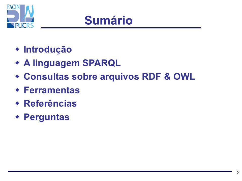 2 Sumário Introdução A linguagem SPARQL Consultas sobre arquivos RDF & OWL Ferramentas Referências Perguntas