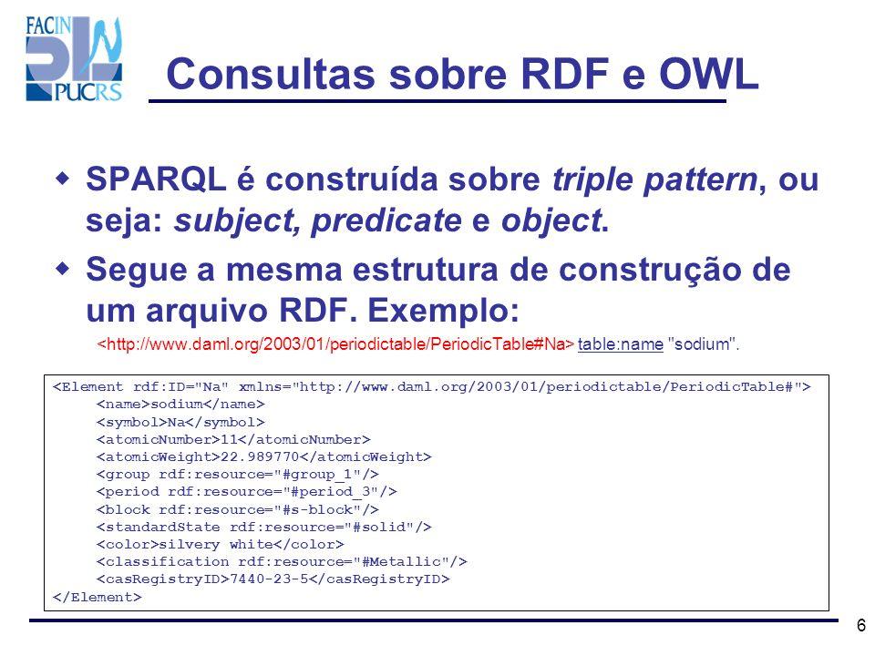 7 Exemplo de uma consulta simples: PREFIX table : SELECT ?name FROM http://www.daml.org/2003/01/periodictable/PeriodicTable.owl http://www.daml.org/2003/01/periodictable/PeriodicTable.owl WHERE {?element table:name ?name.} Retorna: ---------------------------------------------------------- | name | ========================================================== | unununium ^^ | | copper ^^ | | bismuth ^^ | ---------------------------------------------------------- Consultas sobre RDF e OWL