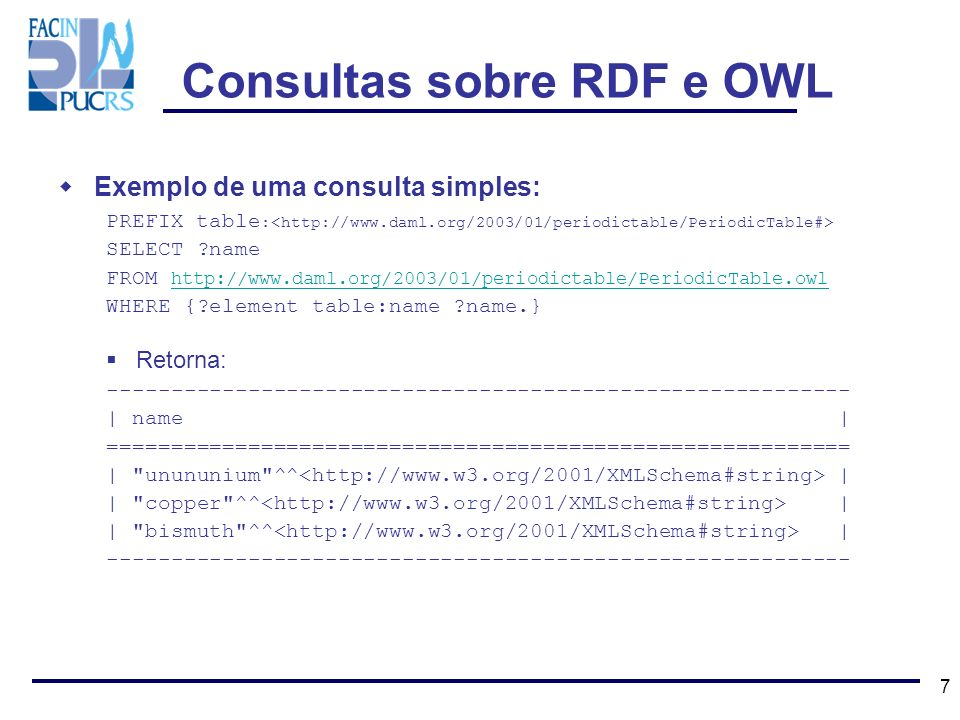 7 Exemplo de uma consulta simples: PREFIX table : SELECT ?name FROM http://www.daml.org/2003/01/periodictable/PeriodicTable.owl http://www.daml.org/20
